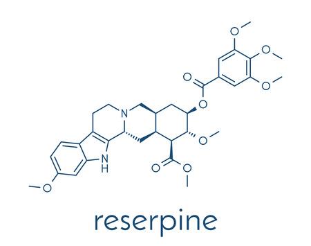 Reserpine alkaloïde molecuul. Geïsoleerd van Rauwolfia serpentina (Indische snakeroot). Skeletachtige formule. Stockfoto - 83098121