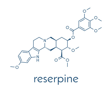 Reserpine alkaloid molecule. Isolated from Rauwolfia serpentina (Indian snakeroot). Skeletal formula. Stock Photo