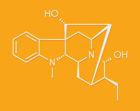 Ajmaline antiarrhytmic agent molecule.  Skeletal formula.