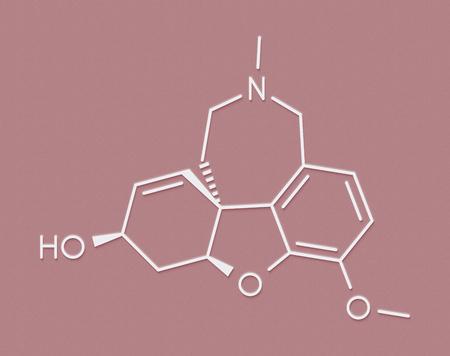acetylcholine: Galantamine alkaloid molecule. Found in Caucasian snowdrop, used in treatment of Alzheimers disease. Skeletal formula.