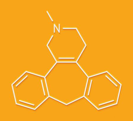 Setiptiline (also known as teciptiline) antidepressant drug molecule. Skeletal formula.