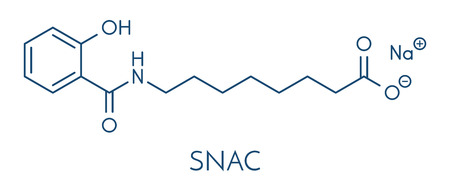 Sodium salcaprozate (SNAC, sodium N-[8-(2-hydroxybenzoyl)amino] caprylate) oral absorption promoter. Used to increase the bioavailability of macromolecules, including heparin and peptide drugs. Skeletal formula.
