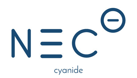 Cyanide anion, chemical structure. Cyanides are toxic, due to inhibition of the enzyme cytochrome c oxidase. Skeletal formula.