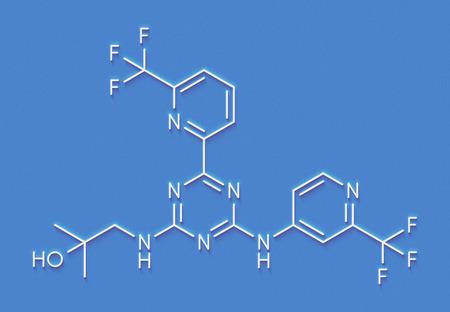Enasidenib cancer drug molecule (IDH2 inhibitor). Skeletal formula.