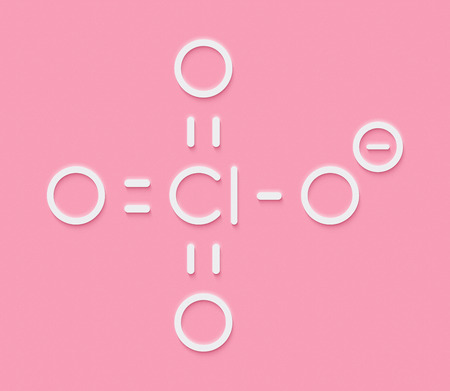 Perchlorate anion, chemical structure. Salts are used in rocket propellants.  Skeletal formula. Stock Photo