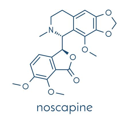 Noscapine antitussive drug molecule.  Skeletal formula. Stock Photo