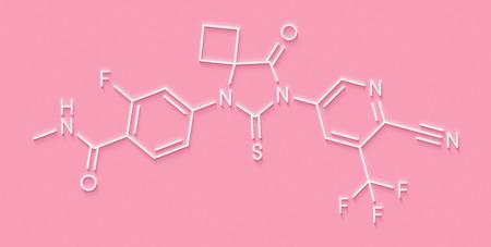 Apalutamide prostate cancer drug molecule. Skeletal formula.