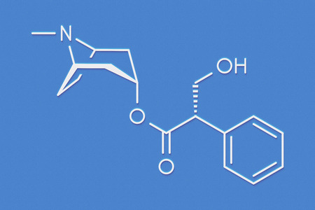 Hyoscyamine alkaloid molecule. Herbal sources include henbane, mandrake, jimsonweed, deadly nightshade and tomato. Skeletal formula.