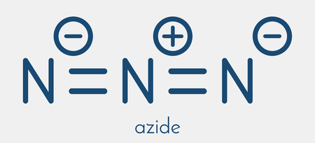 oxidase: Azide anion, chemical structure. Azide salts are used in detonators and as propellants. Skeletal formula.