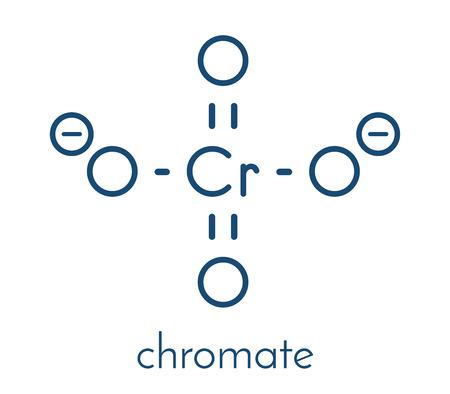 Chromate anion, chemical structure. Skeletal formula.