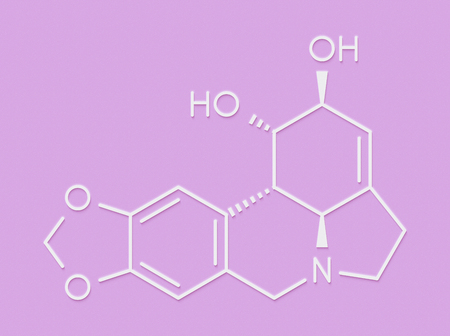 Lycorine alkaloid molecule. Found in Amaryllidaceae plants, including lilies and daffodils. Skeletal formula. Stock Photo