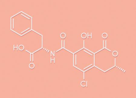 Ochratoxin A mycotoxin molecule. Skeletal formula.