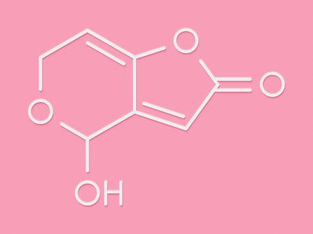 Patulin mycotoxin molecule. Skeletal formula.