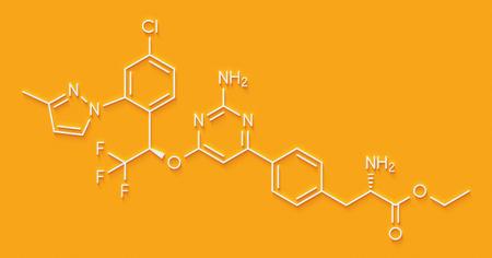 Telotristat ethyl drug molecule (tryptophan hydroxylase inhibitor). Skeletal formula.