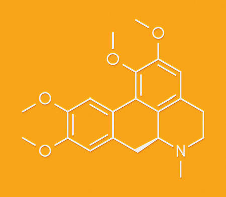 muscle relaxant: Glaucine alkaloid molecule. Found in yellow hornpoppy (Glaucium flavum) and a number of other plants. Skeletal formula. Stock Photo