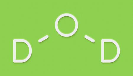 Deuterium oxide (heavy water) molecule. Skeletal formula. Stock Photo