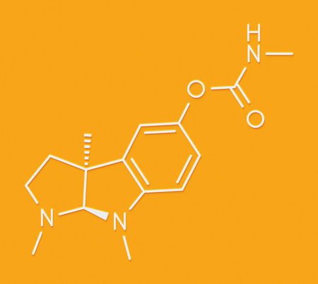Physostigmine alkaloid molecule. Present in calabar bean and manchineel tree, acts as acetylcholinesterase inhibitor. Skeletal formula. Stock Photo
