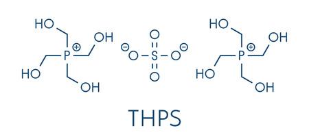 tetrakis(hydroxymethyl)phosphonium sulfate (THPS) biocide molecule. Skeletal formula. Illustration