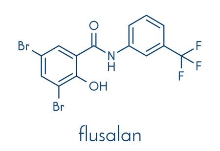Fluorosalan antiseptic molecule. Skeletal formula.