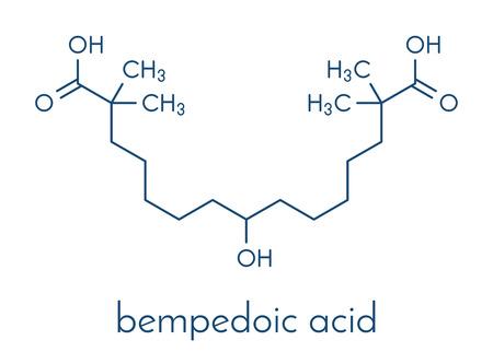 Bempedoic 酸高コレステロール血症の薬物の分子 (ATP クエン酸リアーゼ阻害剤)。骨格式。