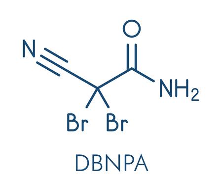 2,2-dibromo-3-nitrilopropionamide (DBNPA) 살 생물 제 분자. 골격 공식.