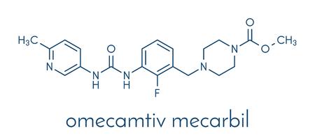 Omecamtiv mecarbil heart failure drug molecule. Skeletal formula. Illustration