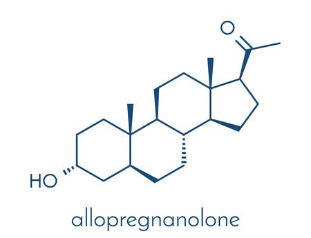 Allopregnanolone drug molecule. Skeletal formula.
