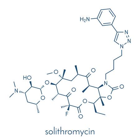 Solithromycin antibiotic drug molecule. Skeletal formula. Ilustração