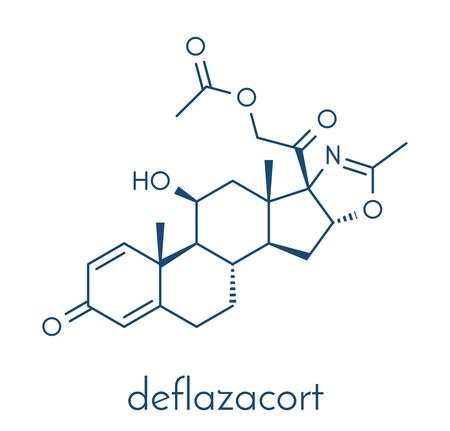 immunosuppressant: Deflazacort glucocorticoid drug molecule. Skeletal formula. Illustration