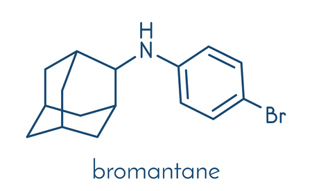 Bromantane asthenia drug molecule. Also used in sports doping. Skeletal formula.