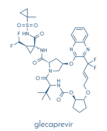 Glecaprevir hepatitis C virus drug molecule. Skeletal formula.