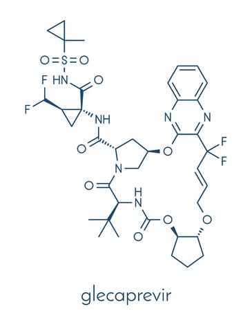 Glecaprevir hepatitis C virus drug molecule. Skeletal formula. Banco de Imagens - 84063463