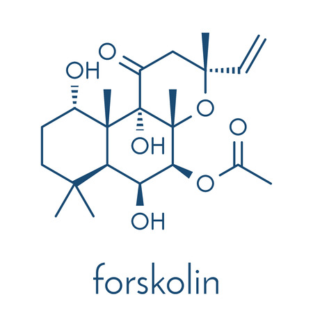 Forskolin (coleonol) molecule. Activates the enzyme adenylyl cyclase, resulting in increased levels of cAMP. Skeletal formula.