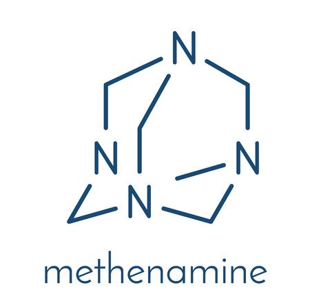 Methenamine molecuul. Gebruikt als een antiseptisch medicijn en in vaste-brandstoftabletten. Skeletformule.