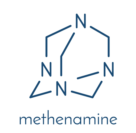 Methenamine molecule. Uses as an antiseptic drug and in solid fuel tablets. Skeletal formula.