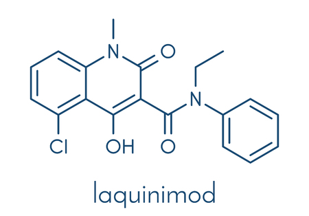 Laquinimod multiple sclerosis drug molecule. Skeletal formula.