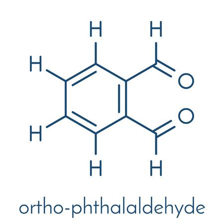 Phthalaldehyde (ortho-phthalaldehyde, OPA) disinfectant molecule.  Skeletal formula. Illustration