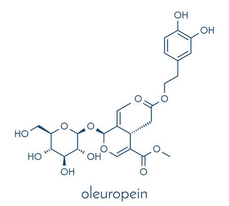 Oleuropein olive component molecule. In part responsible for pungency of virgin olive oil, may have beneficial properties. Skeletal formula. Stok Fotoğraf - 84064214