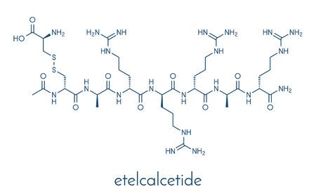 Etelcalcetide drug molecule. Skeletal formula.