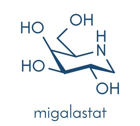 Migalastat Fabry disease drug molecule. Skeletal formula. Illustration