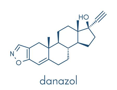 Danazol endometriosis drug molecule. Skeletal formula.