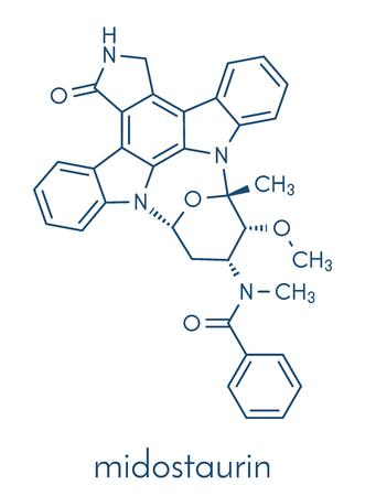 Midostaurin cancer drug molecule (protein kinase inhibitor). Skeletal formula.