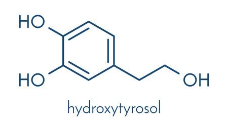 Hydroxytyrosol olive oil antioxidant molecule. Skeletal formula. Illustration