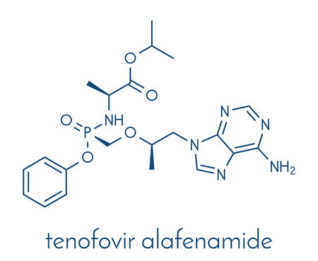 hbv: Tenofovir alafenamide antiviral drug molecule (prodrug of tenofovir). Skeletal formula.