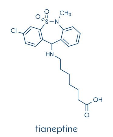 major depression: Tianeptine antidepressant drug molecule. Skeletal formula. Illustration