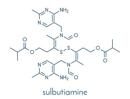 Sulbutiamine asthenia drug molecule. Also used in nutritional supplements. Skeletal formula. Reklamní fotografie - 84064274