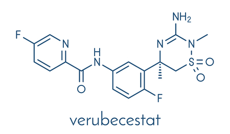 Verubecestat Alzheimers disease drug molecule (BACE1 inhibitor). Skeletal formula.