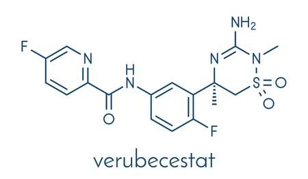 Verubecestat Molécula del fármaco de la enfermedad de Alzheimer (inhibidor BACE1). Fórmula esquelética. Foto de archivo - 84064275