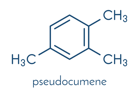 Pseudocumene (1,2,4-trimethylbenzene) aromatic hydrocarbon molecule. Occurs in naturally in coal tar and petroleum. Skeletal formula. Illustration