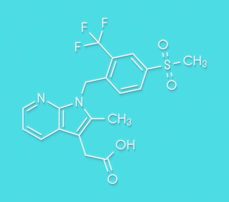 Fevipiprant asthma drug molecule. Skeletal formula.
